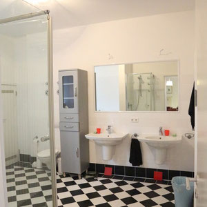 Main Bathroom - with shower, separate bathtub and washing machine
