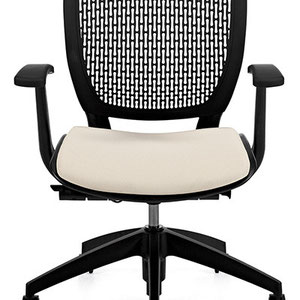 modern professional commercial adjustable office chair with black mesh back and white seat