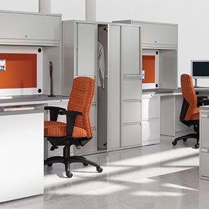 modern office furniture: white professional commercial dual workstation with orange chairs