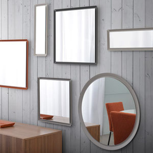 modern minimalist round, square and rectangle mirror, black, taupe, orange