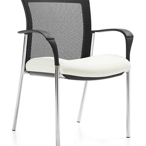 modern office guest chair, white seat with black mesh back
