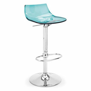 modern aqua blue acrylic adjustable height bar and counter stool with swivel seat and chrome metal base
