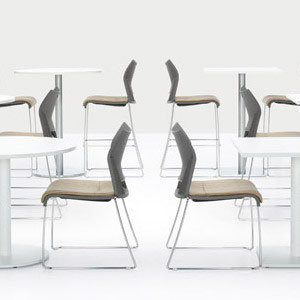modern office furniture, white commercial dining tables, gray commercial dining chairs