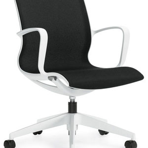 modern professional commercial adjustable office chair with black seat and white frame