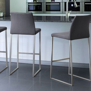modern contemporary gray fabric covered barstool with brushed steel metal legs