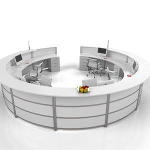 modern office furniture, white large round commercial professional reception desk
