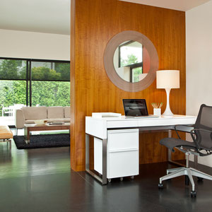 modern white desk with brushed metal frame, small white mobile file cabinet