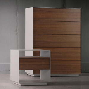 modern chest and nightstand with white metal frame and wood drawers