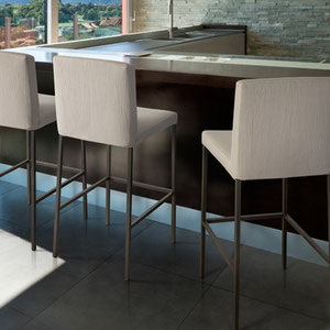 modern contemporary fabric covered barstool with painted metal legs