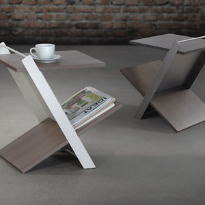 modern canadian side table (magazine holder), metal and wood