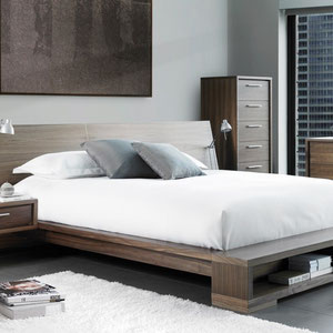 modern wood platform bed with floating nightstands
