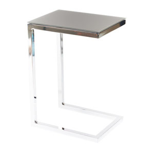 modern chrome and glass side table (end table)