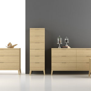 modern natural wood dresser, chest and nightstand