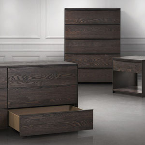modern dresser, chest and nightstand with dark  metal frame and wood drawers