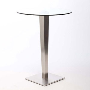 modern bar height table with round glass top and tapered brushed steel base