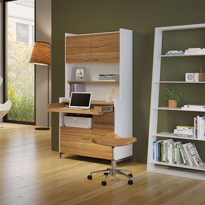 modern white shelving unit with white glass shelves