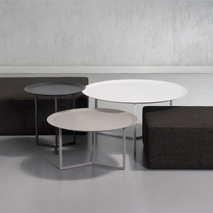 modern canadian metal nesting tray tables with gray fabric ottomans, custom made