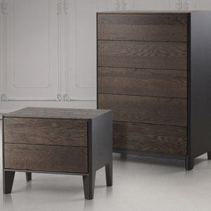 modern chest and nightstand with dark gray metal frame and wood drawers