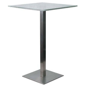 modern bar height table with square crackled glass top and brushed steel base