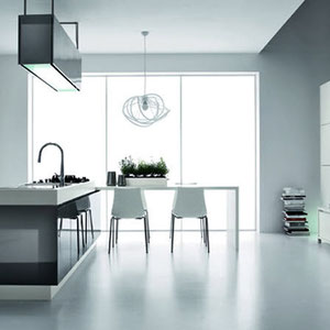 modern white italian kitchen with built in dining and modern white dining chairs