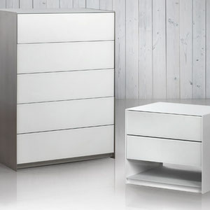 modern brushed metal nightsand and chest with white glass drawers