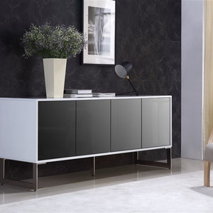 modern white laquer sideboard cabinet with black 4 mirrored glass doors