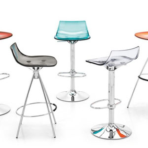 modern italian acrylic barstools, adjustable to bar or counter height. shown in aqua blue, orange, red, transparent clear and charcoal gray