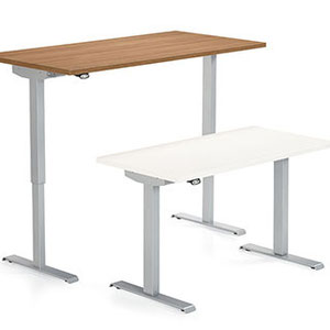 modern professional commercial adjustable office desk, wood and white