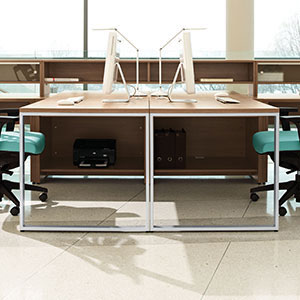 modern office furniture: professional commercial dual wood workstation with aqua blue office chairs
