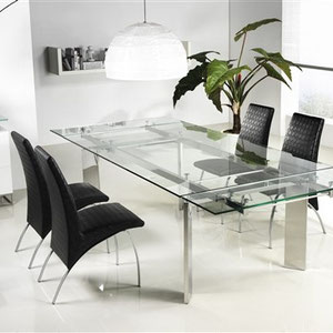 modern clear glass extension table with chrome base, black faux leather (leatherette) dining chairs