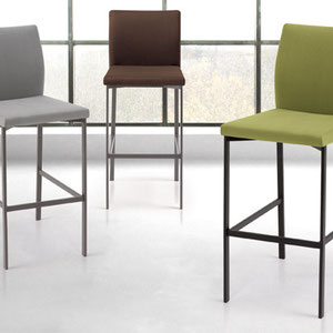 modern contemporary light gray, green, and brown fabric covered barstools with painted metal legs