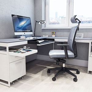 white modern office desk with return, white modern pedestal file cabinet on wheels (casters), modern mesh back office chair with adjustable headrest