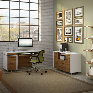 modern desk, storage cabinet and small mobile file cabinet, matte white lacquer with natural wood drawers