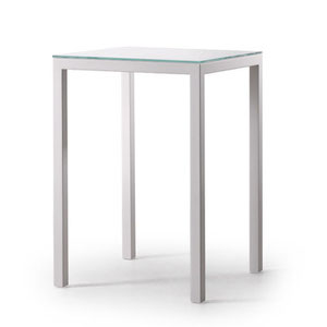 modern square bar or counter height table with frosted glass top and brushed metal base
