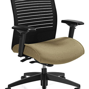 modern professional commercial adjustable office chair with black back and green seat