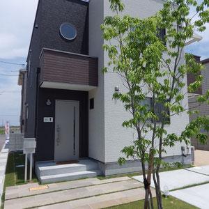 シンプル&グリーンをコンセプトにデザインしました。 株立ちのシラカシと芝生のみの植栽ですが、緑地面積を多くとることで印象が柔らかくなっています。  お出かけの際に玄関を開けると植物が目に入ります。『玄関を開けた時に何が見えるか?』デザインをする上でとても大切なことだと思います。                                                                               岡山市北区 S様邸 エクステリア フラワーチルドレン