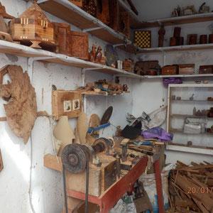 De werkplaats van de houtbewerker