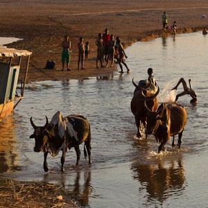 Madagaskar: Ausgelassene, fröhliche Stimmung bei Sonnenuntergang am Fluss Tsiribihina