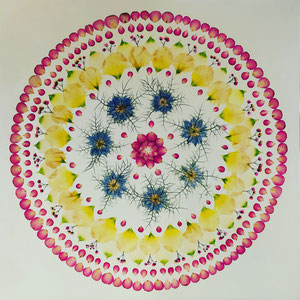 Brautstrauss konservieren, Rittersporn, Rosen, Eustomien Kaleidoskop 60 x 60