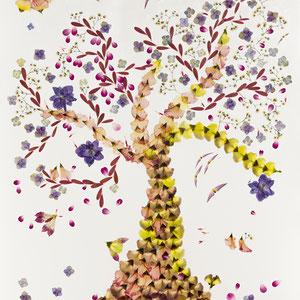 Brautstrauss trocknen, Alternative   Kunstwerk aus den gepressten Blüten 60 x 60 luxury style