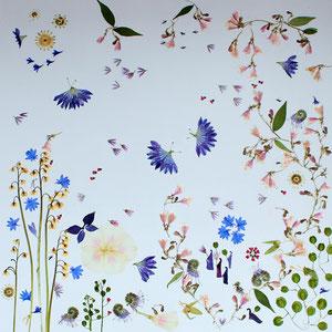Brautstrauss trocknen, Alternative   Kunstwerk aus den gepressten Blüten 60 x 60