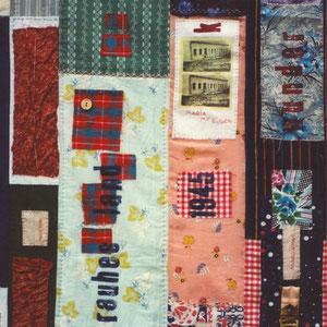 """Nadeschda, """"Jahr Hundert Frau"""" (2009), Quilt aus Baumwolle und Seide, teilweise handbedruckt und handgefärbt; freie Handstickerei, 160 x 115 cm (Detail)"""