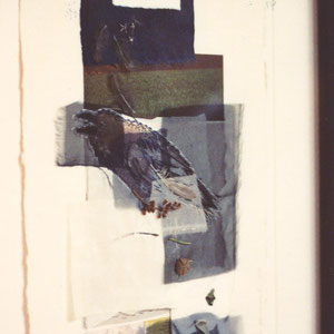 """Nadeschda, """"Die Verwandlung des Zauberers"""" (2009), Collage aus Seide, Leinen, Papier; Zeichnung und freie Handstickerei mit Seide, 30 x 42 cm"""