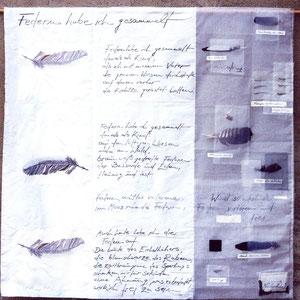 """Nadeschda, """"Federn habe ich gesammelt"""" (2008), Zeichnung, Gedicht und freie Handstickerei auf Seide, gequiltet, 104 x 104 cm"""