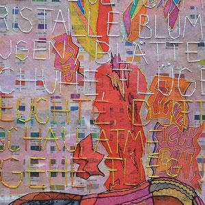 """Nadja Hormisch, Detail von """"Ausbruch der Schönheit"""" (2014), 90 x 35, Stickerei, Appliqué, Papierlamination und Transferdruck auf Organza und Non-woven-fabric"""