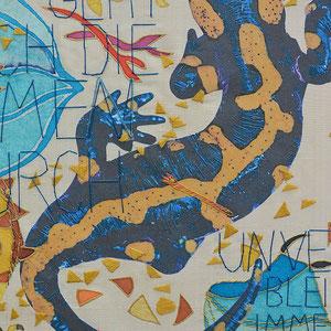 """Nadja Hormisch, Detail von """"Salamander besiegt Drache"""" (2014), 48 x 48, Stickerei und Appliqué auf Seide"""