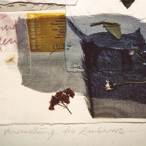 """Nadeschda, """"Die Verwandlung des Zauberers"""" (2009), Collage aus Seide, Leinen, Papier; Zeichnung und freie Handstickerei mit Seide, 30 x 42 cm (Detail)"""