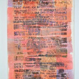 """Nadja Hormisch, """"Bausenberg-Blues (Lied des Vulkans)"""" (2014), 80 x 55, Stickerei, Acryl, Papierlamination und Transferdruck auf Organza und Non-woven-fabric"""