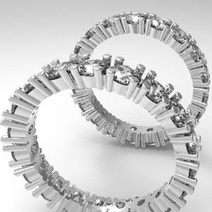 Memory Ringe,Varianten,Rendering,Steinbesatz