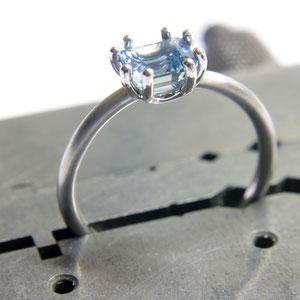Ring Aquamarin, Pt 950/-
